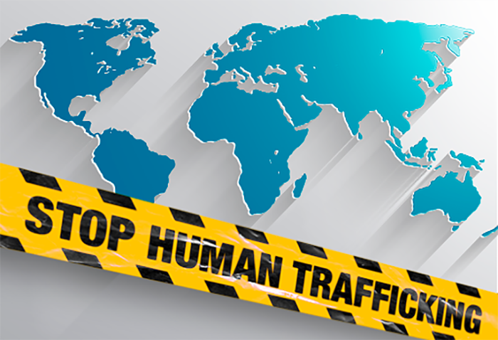 Stop Human Trafficking and World Map Graphic