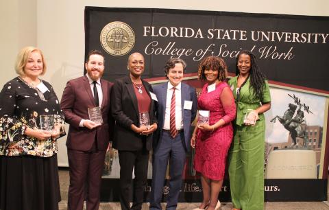 Left to right: Pat Lager, Andrew Richey, Earline Wesley Davis, Dean Jim Clark, Terriyln Rivers-Cannon, Tonja Matthews (Barbara White's daughter)